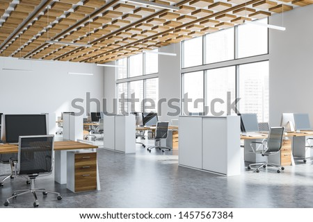 Corner of open space office with white walls, concrete floor, wooden ceiling, large windows with cityscape and rows of white and wooden computer tables with chairs. 3d rendering