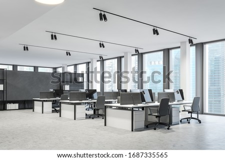 Corner of panoramic open space office with white and grey walls, concrete floor and rows of white computer tables. Consulting company concept. 3d rendering