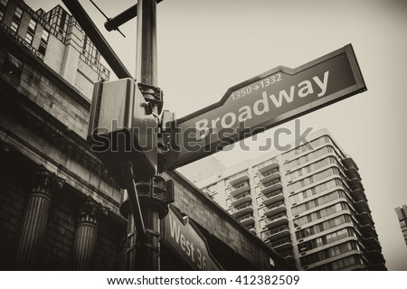 Corner of the Broadway and West 36th Street sign, New York City, USA. New York City, United States famous Broadway street sign in Manhattan, downtown New York. Vintage retro black and white.