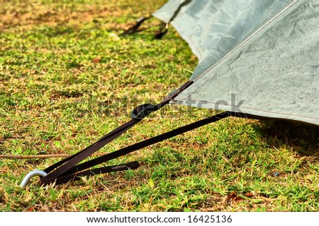 Corner of the camping tent with dew/rain drops on it. Shot in Gifberg Mountains, near Wanrhynsdorp, Western Cape, South Africa.