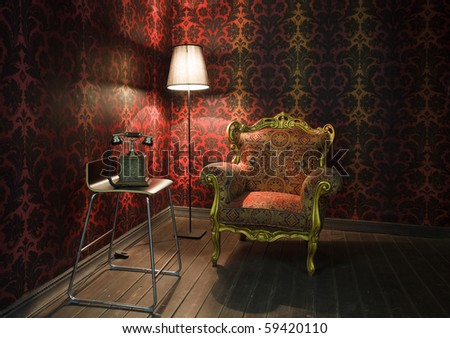 corner of the room with red wallpaper, floor lamp and armchair. Old phone on the chair - stock photo