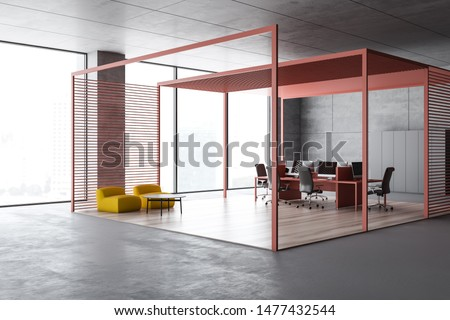 Corner of waiting room with yellow armchairs and coffee table and open space area with pink computer desk in background. 3d rendering