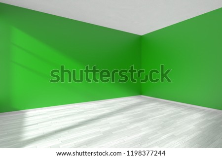 Corner ofempty room with green walls, whitre wooden parquet floor and sunlight from window, perspective view, minimalist interior 3d illustration Foto d'archivio ©