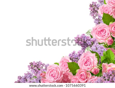 Corner ornament of  pink roses and lilac isolated on white background with place for your photo or text  #1075660391