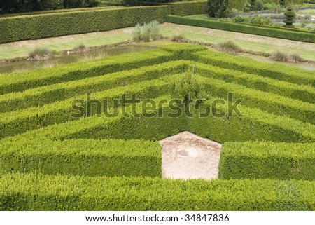 Corner part of a maze in a renaissance garden in France