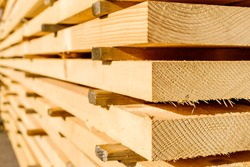 Corner parts of stacked lumber or timber.