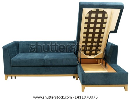 Corner sofa isolated on white background. Including clipping path. Opened storage for bed linen #1411970075