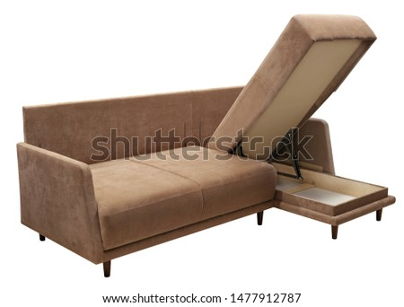 Corner sofa isolated on white background. Including clipping path. Opened storage for bed linen #1477912787