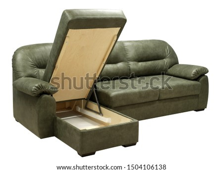 Corner sofa isolated on white background. Including clipping path. Opened storage for bed linen #1504106138