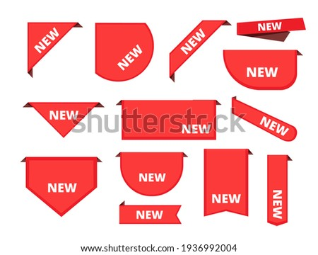 Corner sticker. Promotional curly banners sale merchandise label arrival ribbons collection Stockfoto ©