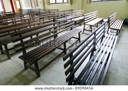corner view of Wooden church pews in church in taipei