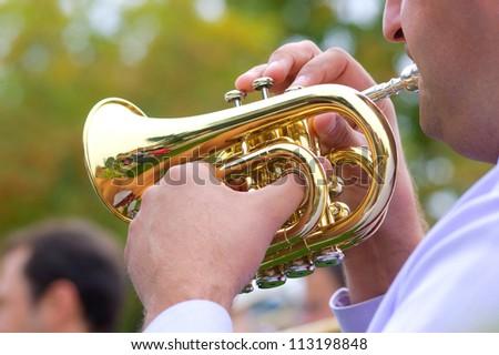 Cornet in street wind orchestra