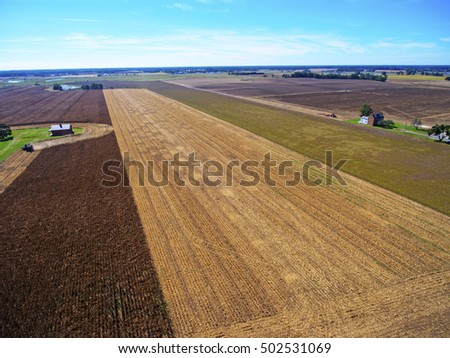 cornfields and farms aerial view