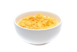 Cornflakes on bowl  isolated on white background