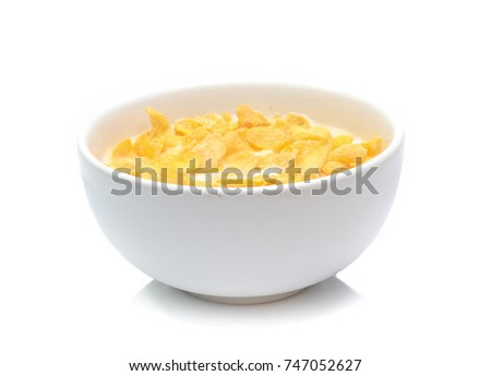 Cornflakes on bowl  isolated on white background #747052627