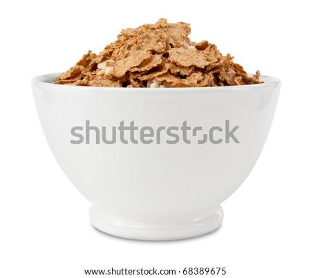 Cornflakes whole grain in bowl - stock photo