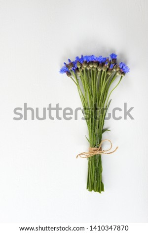 Cornflowers.  Bouquet of wild blue flowers  on light background. Art design background,,concept or template in minimal style for lettering,tett or design. Flat lay with copy space.Vertical. Stock fotó ©