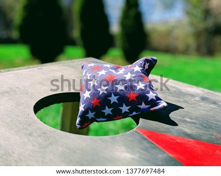 Cornhole Game 4th of July Flag