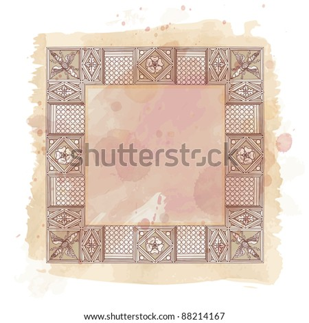 Cornice entablature - hand draw sketch doric architectural order & vintage watercolor background. Bitmap copy my vector id 87989017