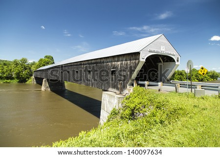Cornish Windsor Covered Bridge, the longest in the United States. - stock photo