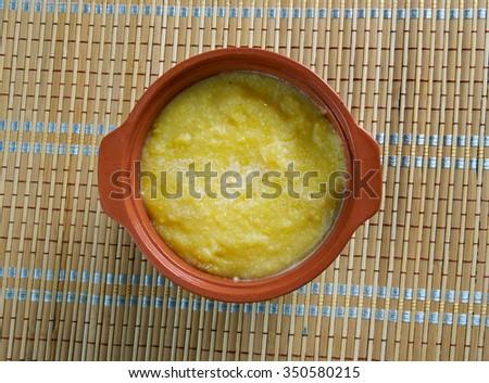 Cornmeal Pap - African porridge soft polenta.In Botswana Stock fotó ©