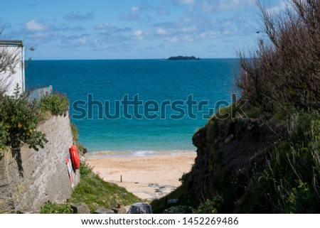 Cornwall rocky cove coastline England #1452269486