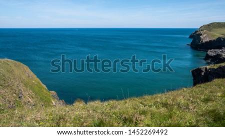 Cornwall rocky cove coastline England #1452269492
