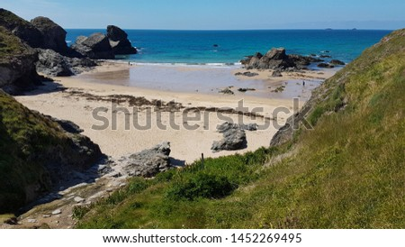 Cornwall rocky cove coastline England #1452269495