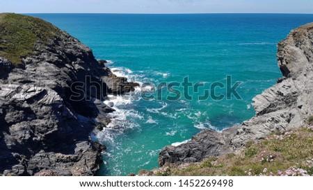 Cornwall rocky cove coastline England #1452269498