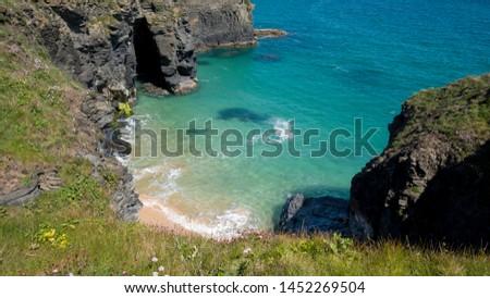 Cornwall rocky cove coastline England #1452269504