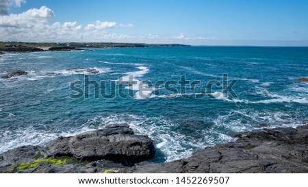 Cornwall rocky cove coastline England #1452269507
