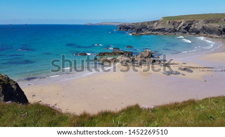 Cornwall rocky cove coastline England #1452269510