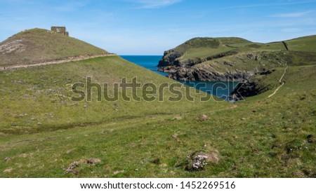 Cornwall rocky cove coastline England #1452269516