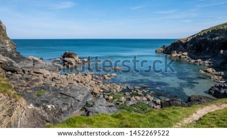 Cornwall rocky cove coastline England #1452269522