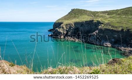 Cornwall rocky cove coastline England #1452269525