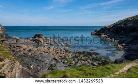 Cornwall rocky cove coastline England #1452269528