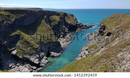 Cornwall rocky cove coastline England #1452392459