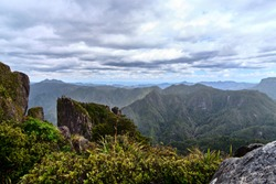 Coromandel Forest Park, New Zealand - December 21 2019: View of Standing Rockface and Landscape From The Pinnacles
