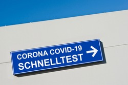 Corona Covid-19 German rapid test sign