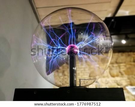Corona discharge in plasma ball. Nikola Tesla invention
