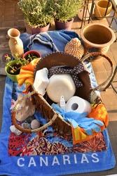 Corona Pandemic Summer Holidays: Canarias - Canary Islands Beach Towel with Beach Basket on a Balcony