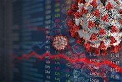 Corona stock market affect and crash.  Cash money viral infection threat from covid-19 coronavirus.  Monetary affect.
