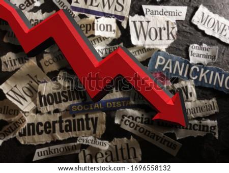 Corona Virus and economic related news headlines with red down arrow                            ストックフォト ©