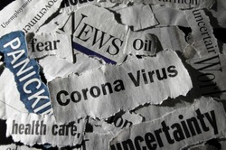 Corona Virus news with assorted negative news headlines surrounding it