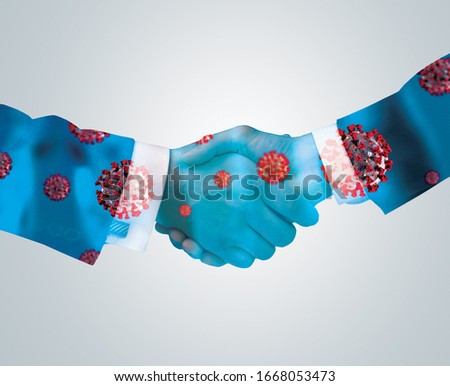 Corona Virus or bacteria spread by handshake or hand touch concept. Say No to Handshake. Businessman handshake and virus spread.