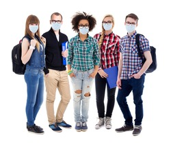 corona virus, pandemic, health care and education concept - group of teenagers or students in protective masks standing isolated on white background