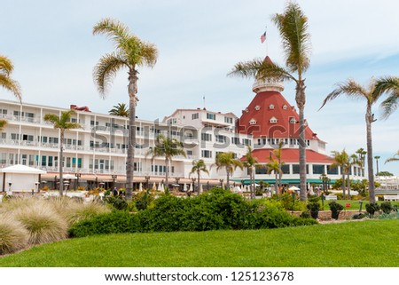 "CORONADO, CA, USA - APRIL 06: Hotel del Coronado in the city of Coronado, California on April 06, 2011. Hotel has been featured in a legend comedy ""Some Like It Hot"",  which starred Marilyn Monroe."