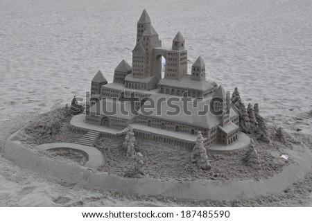 CORONADO ISLAND, CALIFORNIA - DEC 18: Sandcastle at Hotel del Coronado in Coronado near San Diego in California, on Dec 18, 2013. Bill Pavlacka has been building sand castles as a hobby for 30 years.