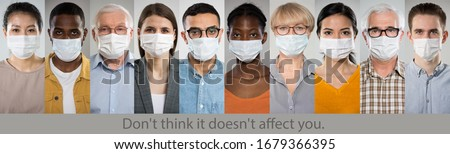 """Coronavirus. A set of portraits of people of different nationalities and ages in medical masks with the slogan """"Don't think it doesn't affect you""""."""