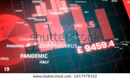 Coronavirus affecting stock market concept background illustration. Financial Stock market crisis. Global economy crash. Covid-19 financial outbreak
